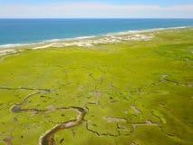 Vista aérea do pântano de sal em Cape Cod fotos de stock royalty free