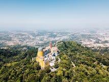Vista aérea do palácio Sintra de Pena, Portugal Fotografia de Stock