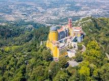 Vista aérea do palácio Sintra de Pena, Portugal Foto de Stock Royalty Free
