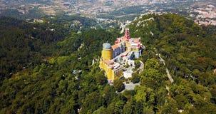 Vista aérea do palácio Sintra de Pena, Portugal Fotografia de Stock Royalty Free