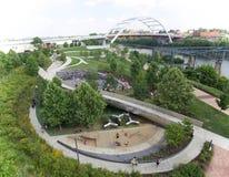 Vista aérea do parque de Cumberland em Nashville do centro, TN imagem de stock royalty free