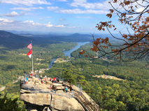 Vista aérea do parque estadual da rocha da chaminé, North Carolina imagens de stock royalty free