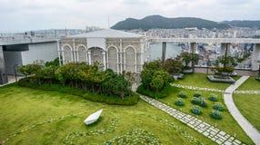 Vista aérea do parque verde em Busan, S coreia fotografia de stock