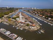 Vista aérea do porto da ostra do La Teste, Bassin d 'Arcachon, França foto de stock