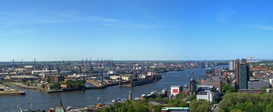 Vista aérea do porto de Hamburgo Fotos de Stock