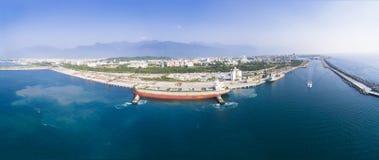 vista aérea do porto de Hualien imagens de stock royalty free