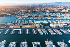 Vista aérea do porto de Marina del Rey no LA Fotografia de Stock