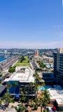 Vista aérea do porto de San Diego e do parque de margem fotografia de stock royalty free