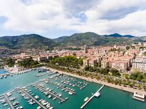 Vista aérea do porto de Spezia do La, Liguria fotografia de stock