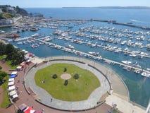 Vista aérea do porto do iate imagens de stock