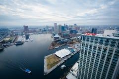Vista aérea do porto interno de Baltimore, Maryland foto de stock royalty free