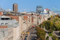 Vista aérea do porto velho de Montreal imagens de stock royalty free