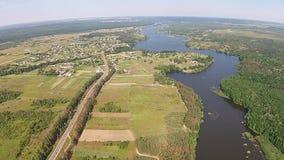 Vista aérea do rio atual video estoque