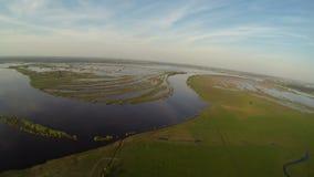 Vista aérea do rio e do campo verde do verão vídeos de arquivo
