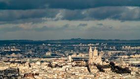 Vista aérea do Sacre Coeur em Montmartre em Paris Imagem de Stock Royalty Free