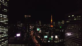 Vista aérea do Tóquio da noite video estoque
