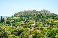 Vista aérea do templo grego famoso em Grécia Fotografia de Stock