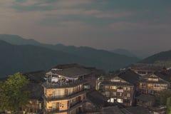 Vista aérea do terraço do arroz de Longji no condado de Longsheng, China foto de stock royalty free
