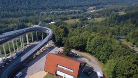Vista aérea do trenó de Sigulda/Letónia video estoque