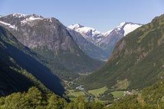 Vista aérea do vale de Hjelle fotografia de stock royalty free