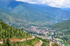 Vista aérea do vale de Thimphu Imagem de Stock Royalty Free