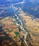 Vista aérea do vale do sul de Rhone, Provence França imagem de stock