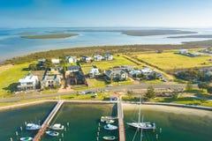 Vista aérea dos barcos no porto, porto Albert imagem de stock