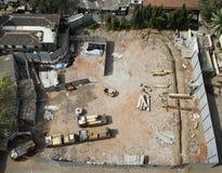 A vista aérea dos construtores traça pronto para o trabalho Fotos de Stock Royalty Free