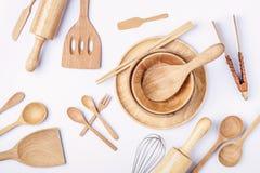 Vista aérea dos utensílios de madeira, fotografia lisa da configuração do jogo de madeira Fotos de Stock Royalty Free