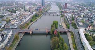Vista aérea em Francoforte - am - cano principal, Alemanha, Europa filme