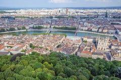 Vista aérea em Lyon imagens de stock