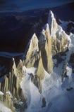Vista aérea em 3400 medidores da montagem Fitzroy, escala de Cerro Torre e montanhas de Andes, Patagonia, Argentina imagens de stock