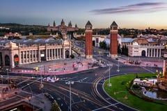 Vista aérea em Placa Espanya e em monte de Montjuic Fotografia de Stock Royalty Free