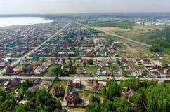 Vista aérea em quartos rurais Borovskiy Rússia Imagens de Stock
