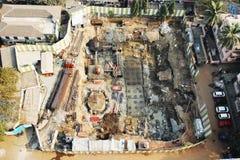 Vista aérea em um local do desenvolvimento da construção Fotografia de Stock