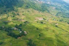 Vista aérea espectacular del paisaje asiático con las terrazas del arroz Imagenes de archivo