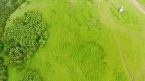 Vista aérea fantástica das montanhas cobertas com a floresta e a igreja verdes de Ananuri Vista de acima filme