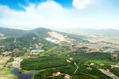 Vista aérea a gran altitud de China rural Fotos de archivo