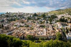 Vista aérea, Granada, vizinhança do albaicin da Espanha imagem de stock