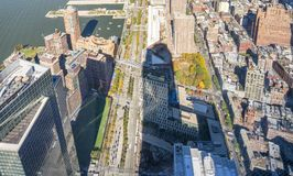 Vista aérea hacia abajo de Manhattan céntrica en New York City Imagenes de archivo