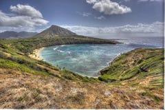Vista aérea hermosa de la bahía Oahu Hawaii de Haunama imágenes de archivo libres de regalías