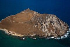Vista aérea hermosa de la isla Oahu Hawaii del conejo foto de archivo