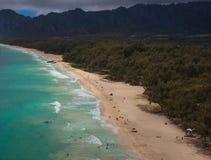 Vista aérea hermosa de la playa Oahu Hawaii de Waimanalo fotos de archivo libres de regalías