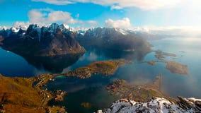 Vista aérea, ilhas de Lofoten, Reine, Noruega Imagem de Stock