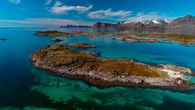 Vista aérea, ilhas de Lofoten, Reine, Noruega Fotografia de Stock
