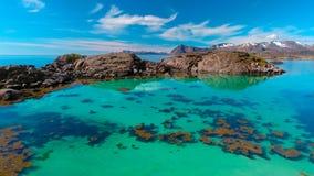 Vista aérea, ilhas de Lofoten, Reine, Noruega Foto de Stock Royalty Free