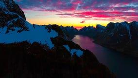 Vista aérea, ilhas de Lofoten, Reine, Noruega Imagens de Stock Royalty Free