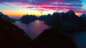 Vista aérea, ilhas de Lofoten, Reine, Noruega Fotografia de Stock Royalty Free