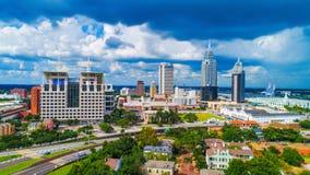 Vista aérea na cidade do móbil, skyline de Alabama, EUA fotografia de stock