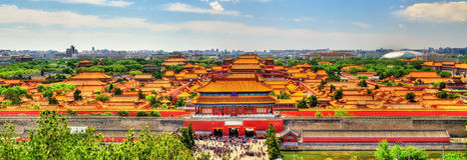 Vista aérea na Cidade Proibida do parque de Jingshan em Bejing fotografia de stock